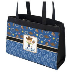 Blue Western Zippered Everyday Tote w/ Name or Text