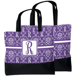 Initial Damask Beach Tote Bag (Personalized)