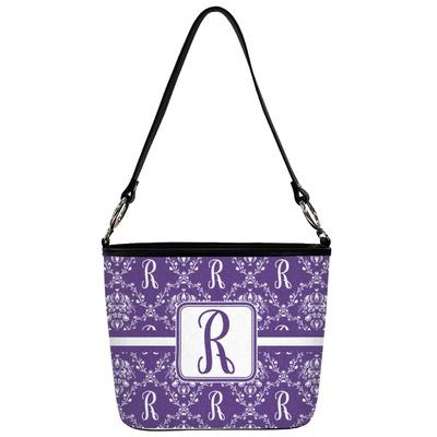 Initial Damask Bucket Bag w/ Genuine Leather Trim (Personalized)