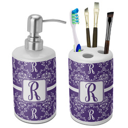Initial Damask Bathroom Accessories Set (Ceramic) (Personalized)