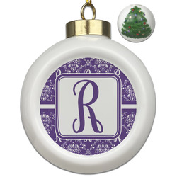 Initial Damask Ceramic Ball Ornament - Christmas Tree