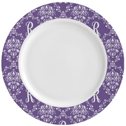 Initial Damask Ceramic Dinner Plates (Set of 4) (Personalized)