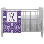 Initial Damask Crib Comforter / Quilt (Personalized)