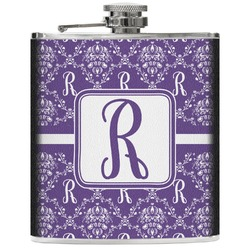 Initial Damask Genuine Leather Flask (Personalized)