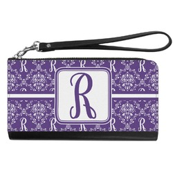 Initial Damask Genuine Leather Smartphone Wrist Wallet (Personalized)