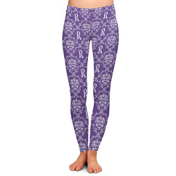 Initial Damask Ladies Leggings - Extra Large (Personalized)