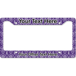 Initial Damask License Plate Frame (Personalized)