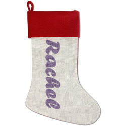 Initial Damask Red Linen Stocking