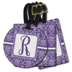 Initial Damask Plastic Luggage Tags