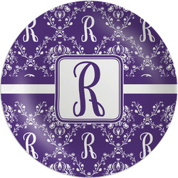 """Initial Damask Melamine Plate - 8"""" (Personalized)"""