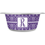Initial Damask Stainless Steel Dog Bowl (Personalized)