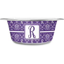 Initial Damask Stainless Steel Pet Bowl (Personalized)