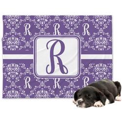 Initial Damask Minky Dog Blanket - Large  (Personalized)