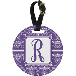 Initial Damask Round Luggage Tag (Personalized)