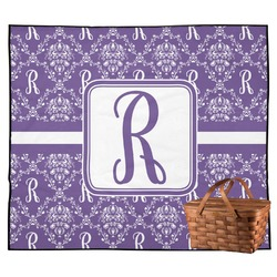 Initial Damask Outdoor Picnic Blanket (Personalized)