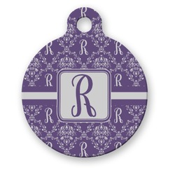 Initial Damask Round Pet ID Tag