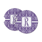 Initial Damask Sandstone Car Coasters (Personalized)