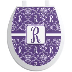 Initial Damask Toilet Seat Decal - Round (Personalized)