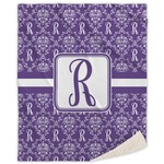 Initial Damask Sherpa Throw Blanket (Personalized)