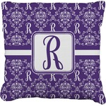 Initial Damask Faux-Linen Throw Pillow (Personalized)