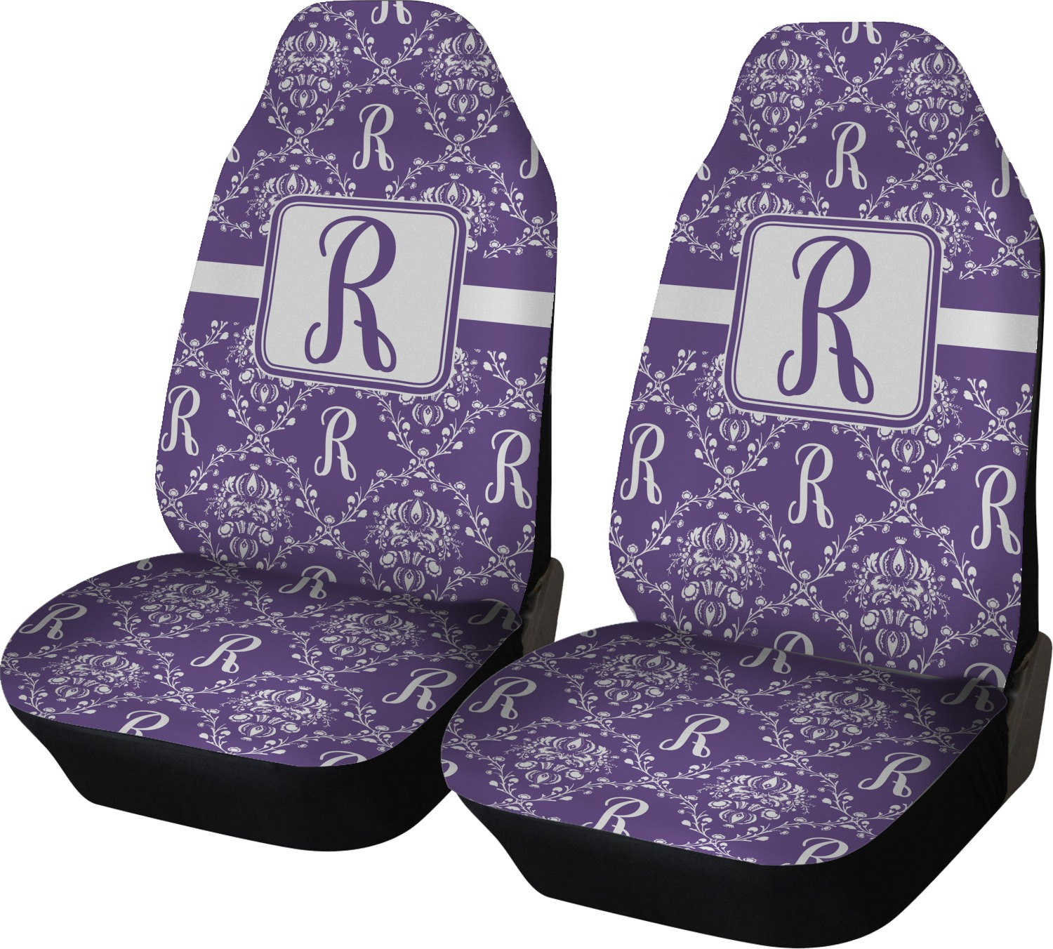 Initial Damask Car Seat Covers Set Of Two Personalized