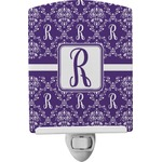 Initial Damask Ceramic Night Light (Personalized)