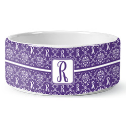 Initial Damask Pet Bowl (Personalized)