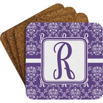 Initial Damask Coaster Set w/ Stand (Personalized)