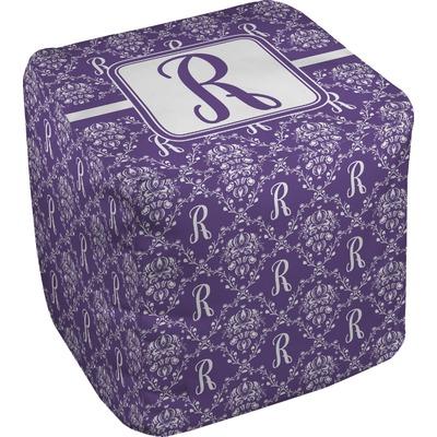 Initial Damask Cube Pouf Ottoman (Personalized)