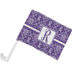 Initial Damask Car Flag (Personalized)