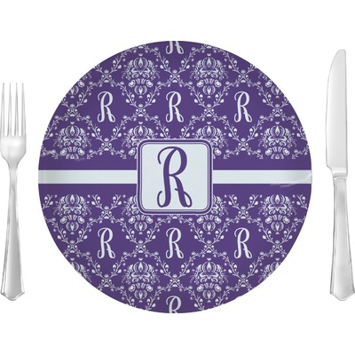 """Initial Damask 10"""" Glass Lunch / Dinner Plates - Single or Set (Personalized)"""