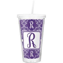 Initial Damask Double Wall Tumbler with Straw (Personalized)