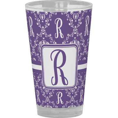 Initial Damask Drinking / Pint Glass (Personalized)