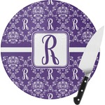 Initial Damask Round Glass Cutting Board (Personalized)
