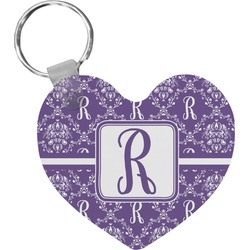 Initial Damask Heart Keychain (Personalized)
