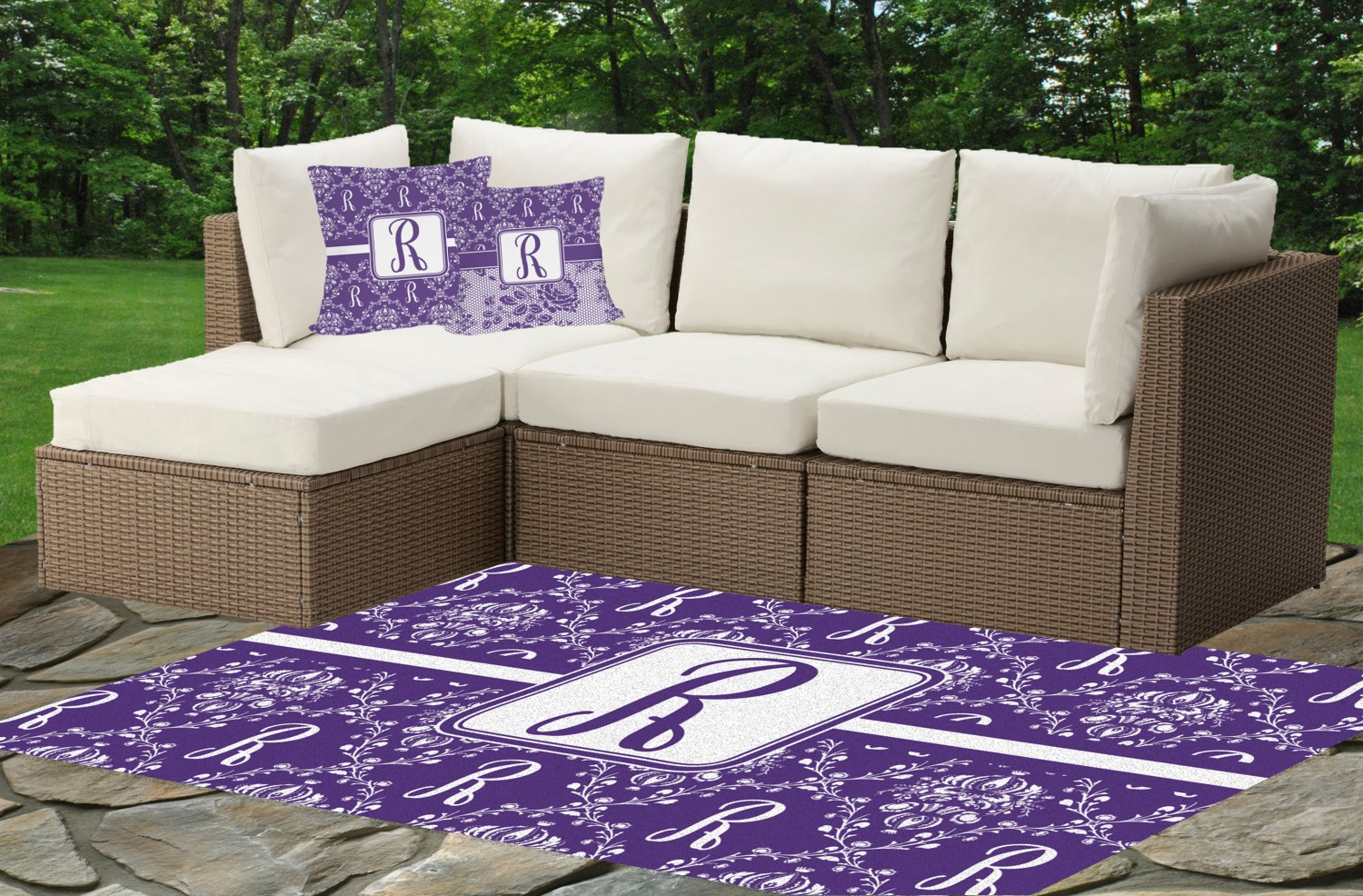 Initial Damask Indoor Outdoor Rug Personalized YouCustomizeIt