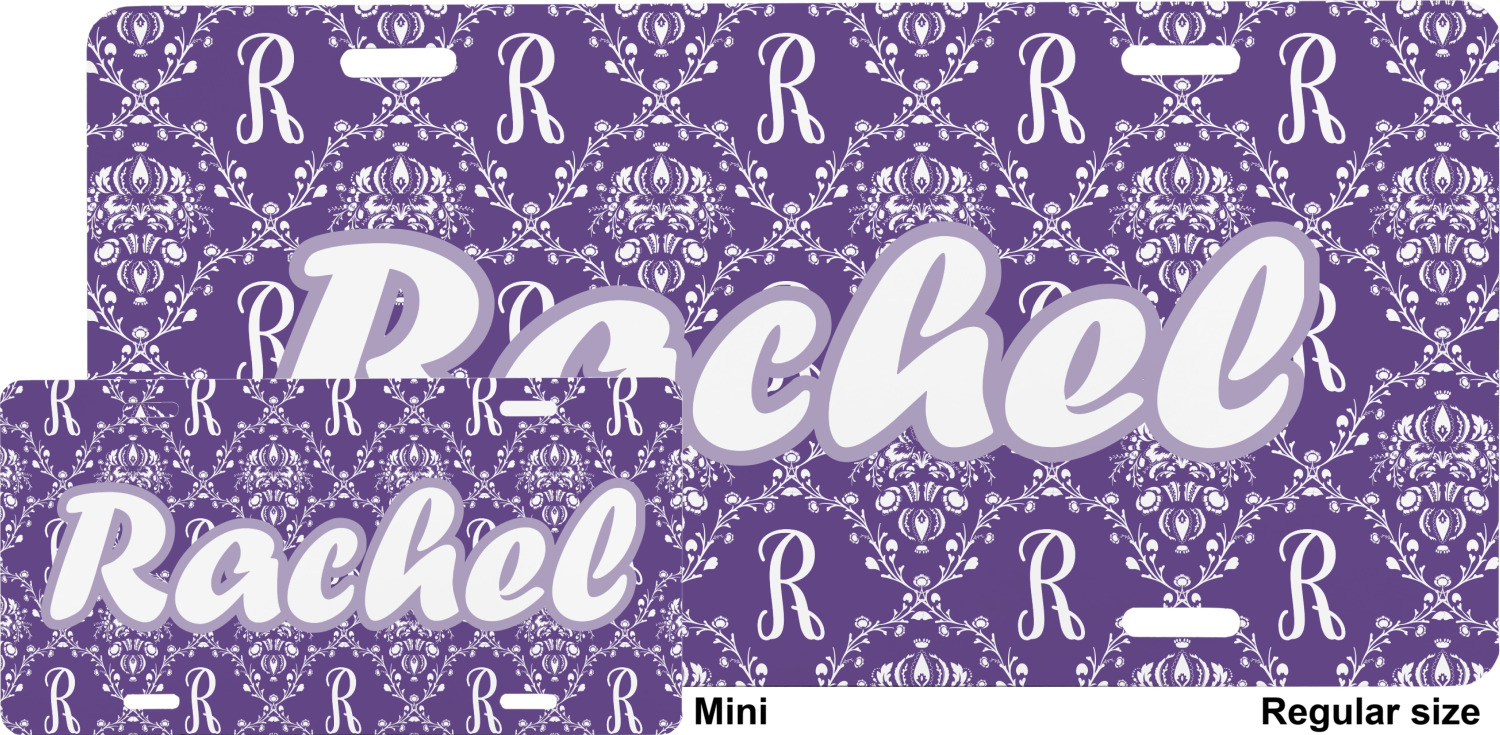 Initial Damask Mini Bicycle License Plate Personalized