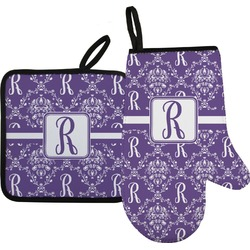 Initial Damask Oven Mitt & Pot Holder (Personalized)