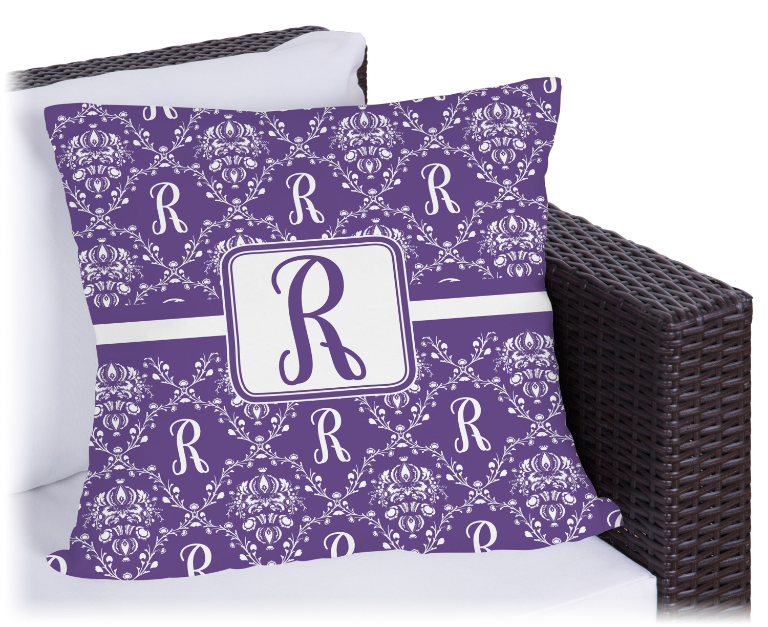 Initial Damask Outdoor Pillow - 18