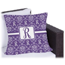 """Initial Damask Outdoor Pillow - 20"""" (Personalized)"""