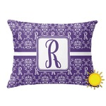 Initial Damask Outdoor Throw Pillow (Rectangular) (Personalized)
