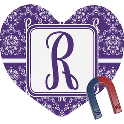 Initial Damask Heart Fridge Magnet (Personalized)