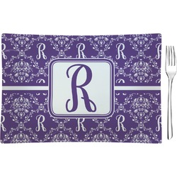 Initial Damask Glass Rectangular Appetizer / Dessert Plate - Single or Set (Personalized)