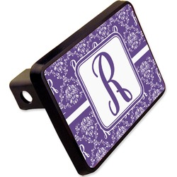 "Initial Damask Rectangular Trailer Hitch Cover - 2"" (Personalized)"