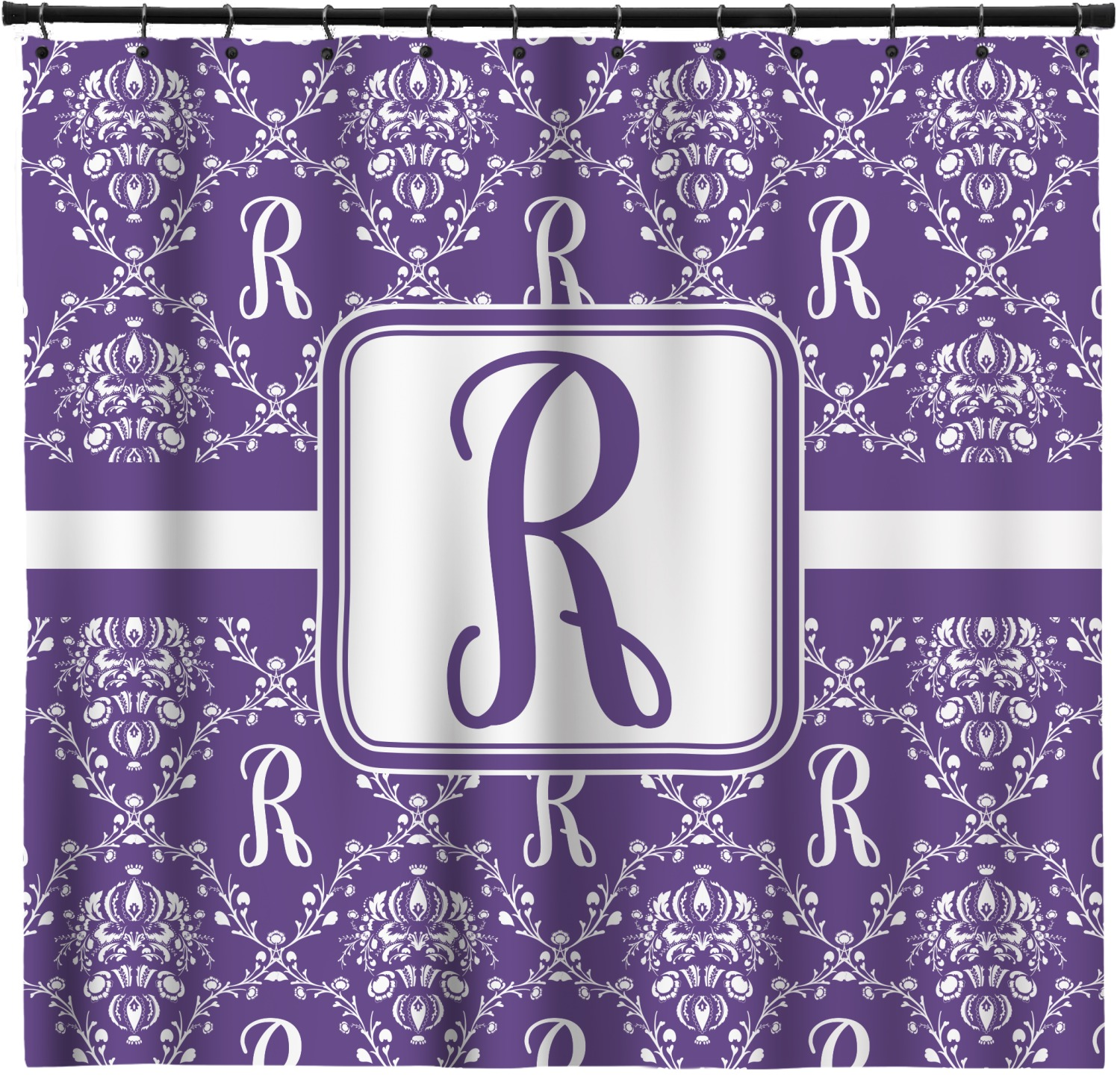 Initial Damask Shower Curtain Personalized Youcustomizeit