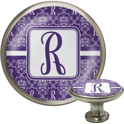 Initial Damask Cabinet Knob (Silver) (Personalized)