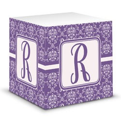 Initial Damask Sticky Note Cube (Personalized)