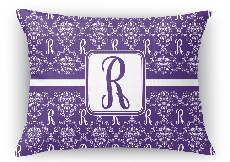 Initial Damask Rectangular Throw Pillow - 12
