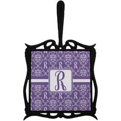 Initial Damask Trivet with Handle (Personalized)