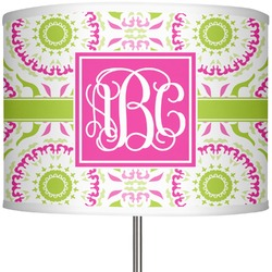 """Pink & Green Suzani 13"""" Drum Lamp Shade Polyester (Personalized)"""